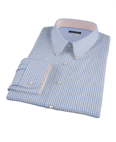 Greenwich Blue Grid Custom Dress Shirt 