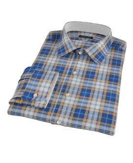Blue and Orange Large Plaid Men's Dress Shirt