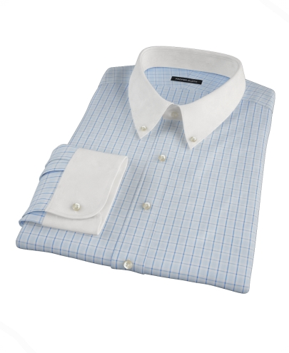 Light Blue Windowpane Glen Plaid Custom Dress Shirt 