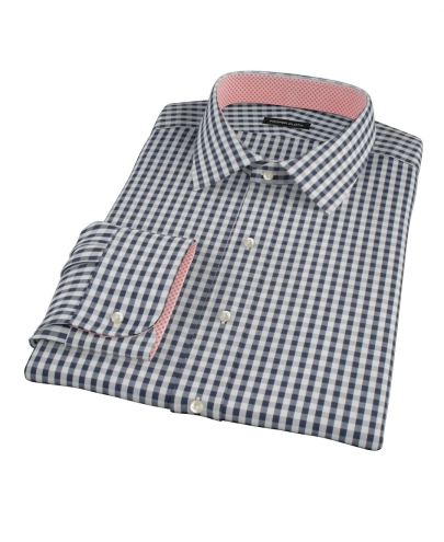 Dark Navy Gingham Men's Dress Shirt