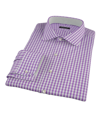 Purple Aster Gingham Fitted Dress Shirt