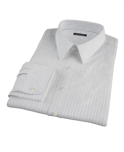 Blue and Green Stripe Fitted Dress Shirt