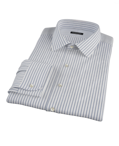 Chambers Wrinkle-Resistant Black and Light Blue Stripe Fitted Dress Shirt