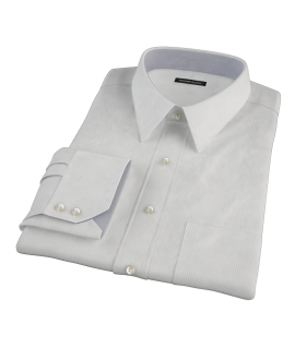 100s Pale Gray Stripe Fitted Dress Shirt 