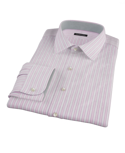 Madison Wrinkle-Resistant Pink Wide Stripe Custom Dress Shirt