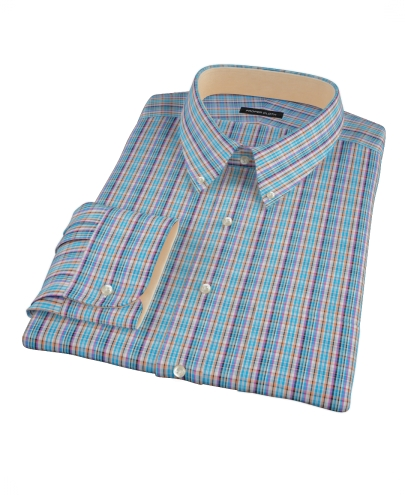 Blue and Orange Tartan Men's Dress Shirt