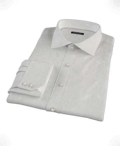 Japanese Gray Mini Grid Fitted Dress Shirt