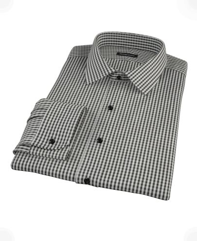 Small Black Gingham Custom Made Shirt