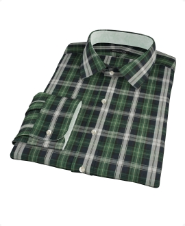 Green Navy Plaid Check Dress Shirt