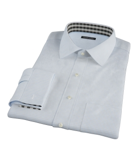 100s Pale Blue Mini Gingham Dress Shirt 