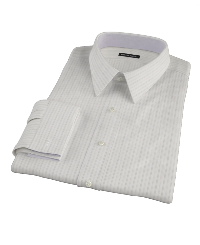 Lavender Gray Dobby Stripe Fitted Dress Shirt