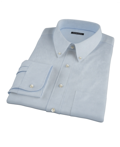 Albini Light Blue Diamond Jacquard Custom Dress Shirt