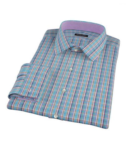 Blue and Orange Tartan Fitted Shirt