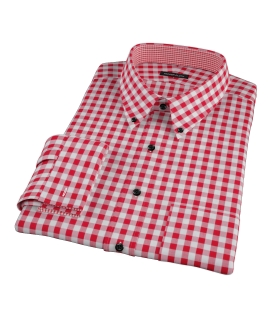 Red Large Gingham Men's Dress Shirt