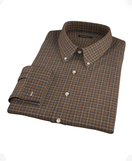 Brown Tartan Custom Dress Shirt