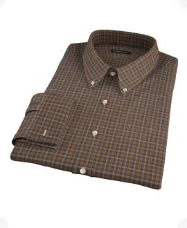 Brown Tartan Custom Dress Shirt