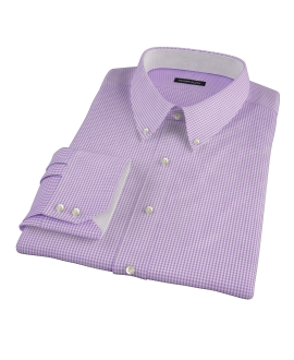 Lavender Mini Gingham Custom Dress Shirt
