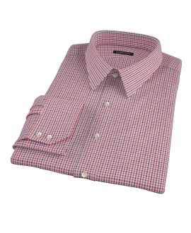 Canclini Red and Navy Mini Gingham Tailor Made Shirt