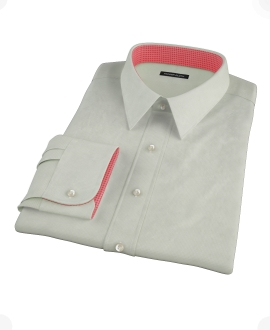 Soft Green Basketweave Fitted Dress Shirt