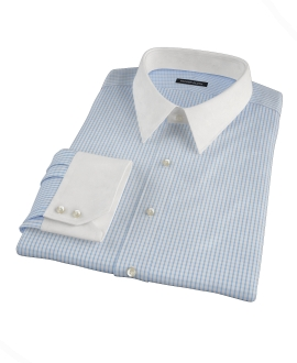Light Blue Medium Check Custom Dress Shirt 