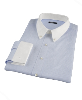 Light Blue and White Bordered Stripe Dress Shirt