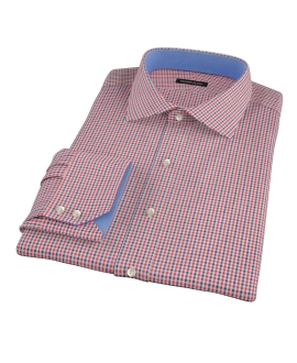 Canclini Red and Navy Multi Gingham Fitted Shirt