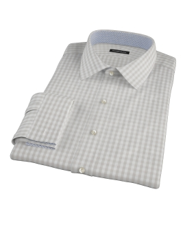 Pale Gray Gingham Fitted Dress Shirt