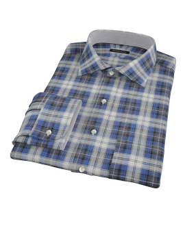 Blue and Charcoal Large Plaid Custom Made Shirt 