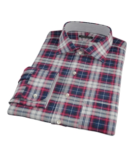 Navy Red Large Plaid Fitted Dress Shirt