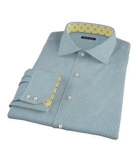 100s Dark Green Mini Gingham Fitted Shirt 