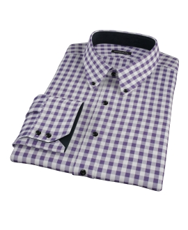 Eggplant Large Gingham Custom Dress Shirt
