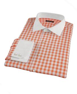 Orange Large Gingham Men's Dress Shirt
