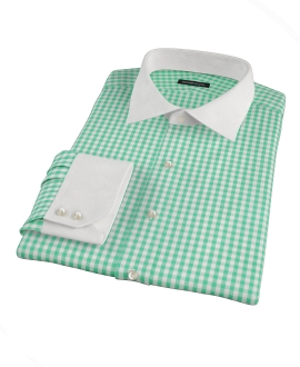 Light Green Gingham Fitted Dress Shirt