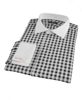 Black Large Gingham Fitted Dress Shirt