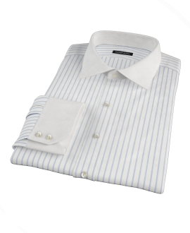 Blue Wide Stripe Fitted Shirt