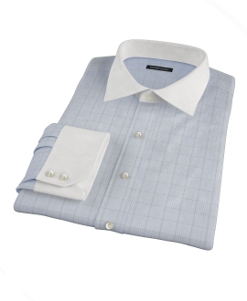 Light Blue and Black Window Grid Dress Shirt 