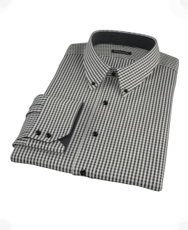 Small Black Gingham Men's Dress Shirt 