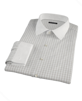 Pale Gray Gingham Dress Shirt