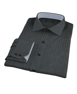 Green Plaid Check Men's Dress Shirt
