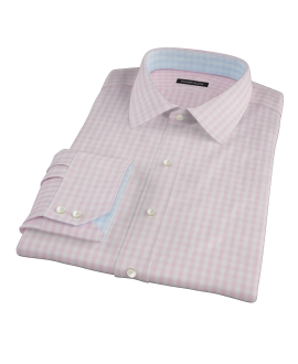 Pale Pink Gingham Fitted Dress Shirt