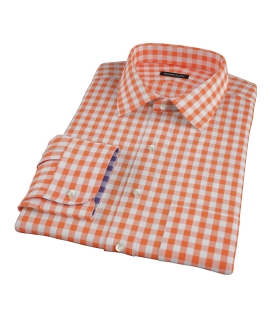Orange Large Gingham Fitted Dress Shirt