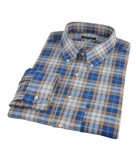 Blue and Orange Large Plaid Custom Dress Shirt