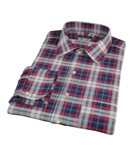 Navy Red Large Plaid Custom Made Shirt