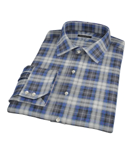 Blue and Charcoal Large Plaid Tailor Made Shirt