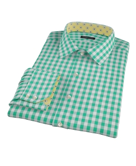Green Large Gingham Men's Dress Shirt