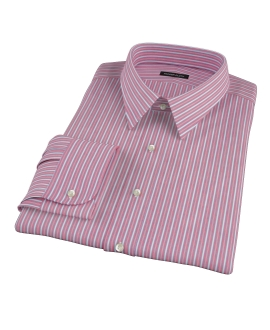 Cranberry and Blue Multi-Stripe Fitted Dress Shirt