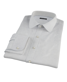 Lavender and Black Fine Satin Stripe Fitted Shirt 