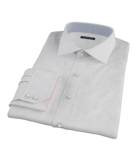 Blue and Brown Fine Satin Stripe Fitted Shirt 