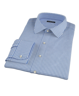 Blue Wrinkle Resistant Bordered Check Dress Shirt