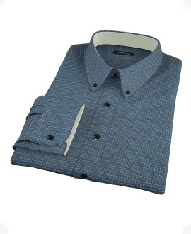 Navy Yellow Tartan Dress Shirt